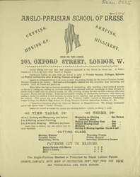 Advert for the Anglo-Parisian School of Dress